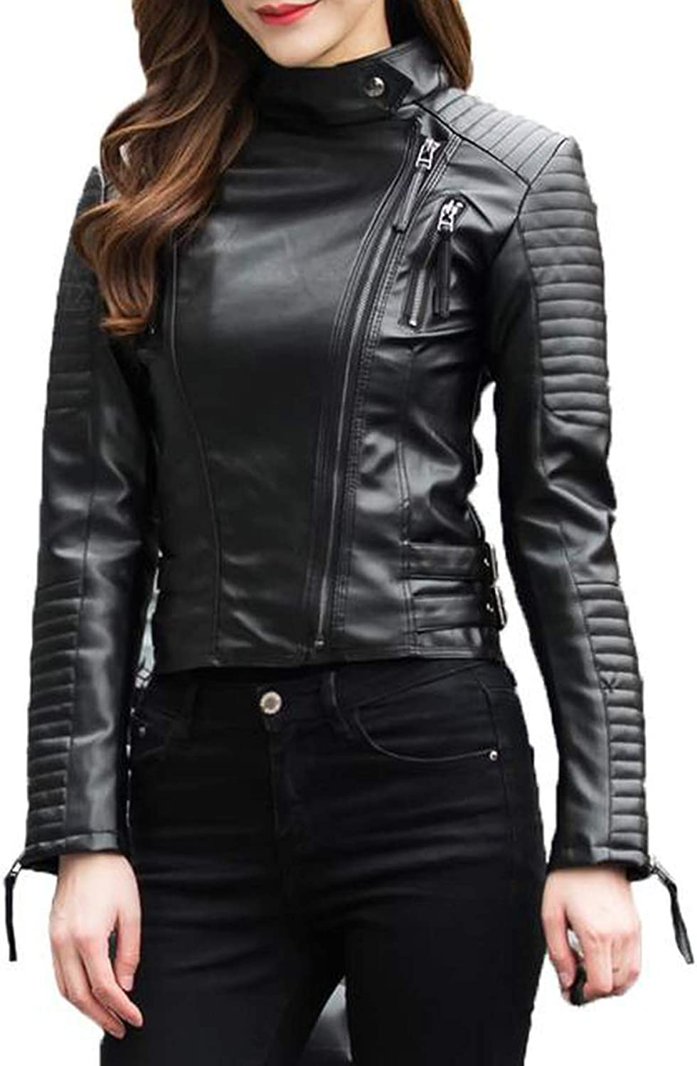 Autumn Women Punk Leather Jacket Soft PU Faux Leather Female Jackets