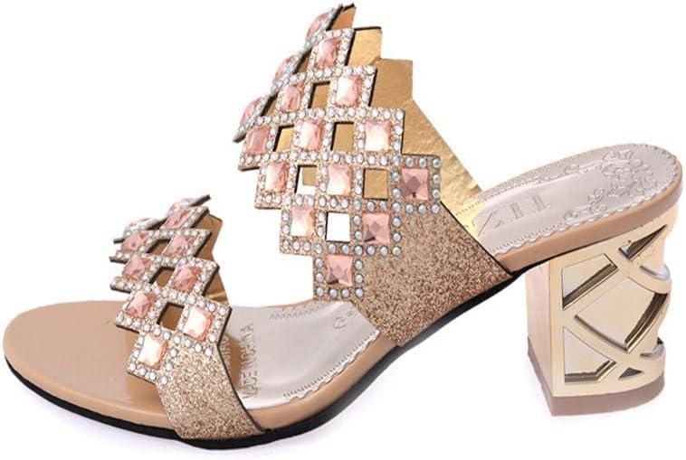 des Coins Tong Mode de Talons de Chaussures Chaussures Crystal en Cristal Talons Hauts Chaussures Slippers Pantoufles l/ét/é Femme honestyi Les Sandales de Strass