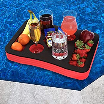 Polar Whale Floating Spa Hot Tub Bar Drink and Food Table Red and Black Refreshment Tray for Pool or Beach Party Float Lounge Durable Foam 7 Compartment UV Resistant