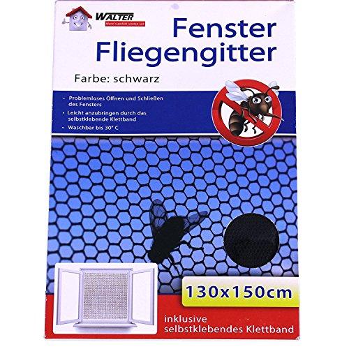 Fliegengitter Insektenschutz Mückengitter Insektennetz für Fenster Schwarz 130x150cm