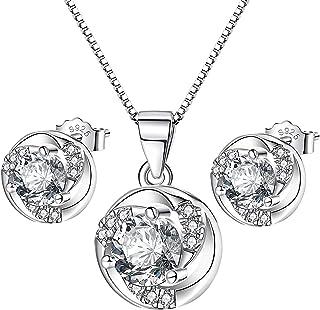 أطقم مجوهرات قلادة وأقراط طقم مجوهرات فضي للنساء هدية للزوجة الأم CAJIKON