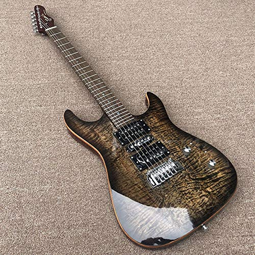 YYYSHOPP Guitars & Gear Guitarra eléctrica con pastillas y puente de bloqueo sintonizador de puntos,...