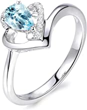Aokarry - Womens S925 Silver Sterling Ringsengagement Ring Blue Created-Topaz December Birthstone