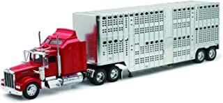 1/32nd New Ray Kenworth W900 Pot Belly Livestock trailer