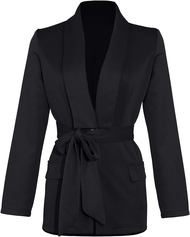 Women Long Sleeve Blazer Lapel Belted Lapel Coat Decorative Fake