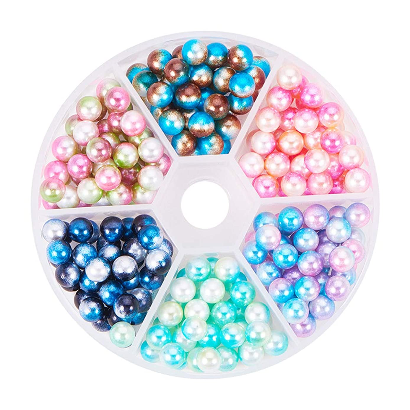 PH PandaHall About 250 Pieces 6 Color 6mm No Holes/Undrilled Imitated Pearl Beads for Vase Fillers, Wedding, Party, Home Decoration