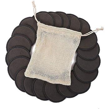 Qhui Discos Desmaquillantes 16 Zero Waste Discos Desmaquillantes Reutilizables con 1 Bolsa de Lavado /& 1Bolsa de Malla de Algod/ón Hechos de Fibra de Bamb/ú,Aptos Para Todo Tipo de Pieles