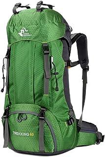 Mochila De Senderismo, Mochila De Montañismo Multiusos 60L, Mochila De Camping De Viaje con Cubierta De Lluvia, Deporte Al Aire Libre Día De Viaje De Viaje para Escalar Turismo De Camping,Verde
