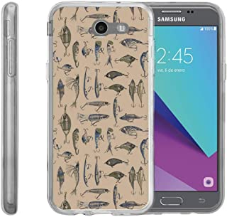 TurtleArmor | Compatible with Samsung Galaxy J3 Emerge Case | J3 (2017) [Flexible Armor] Slim Fit Flexible TPU Case Soft Bumper Cover Sports and Games - Fishing Hooks