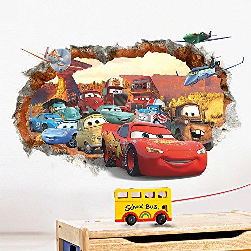 ufengke® 3D Beschädigten Wand Karikatur Autos Flugzeuge Wandsticker, Kinderzimmer Babyzimmer Entfernbare Wandtattoos Wandbilder