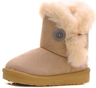 Girls Boys Warm Winter Flat Shoes Bailey Button Snow...