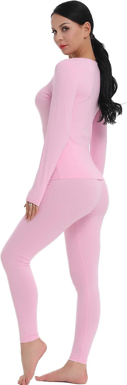 Amorbella Conjunto de ropa interior t/érmica para mujer capa base superior y leggings con forro polar