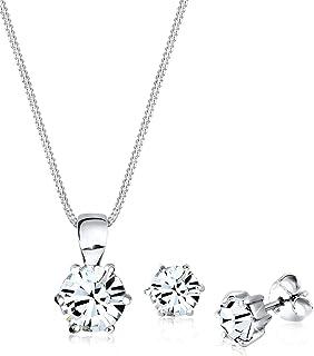 Elli Women 925 Sterling Silver Classic Swarovski® Crystals Jewelry Set