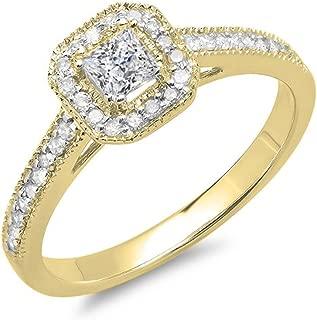 Dazzlingrock Collection 0.50 Carat (ctw) 10K Gold Princess & Round Diamond Ladies Halo Style Bridal Engagement Ring 1/2 CT