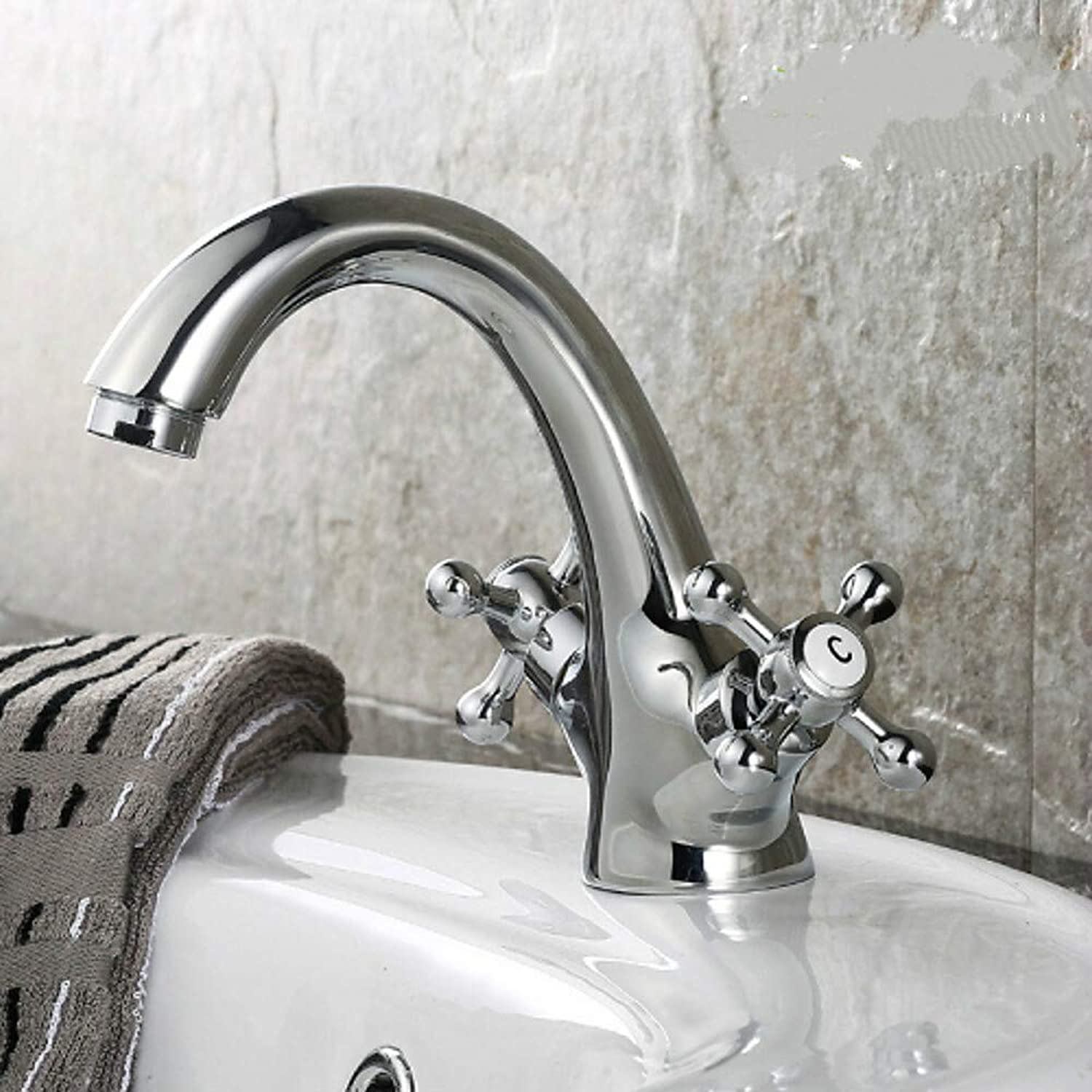 Traditional Centerset Ceramic Valve Two Handles One Hole Ti-PVD, Bathroom Sink Faucet,Silvery,Silvery