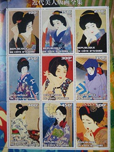 コートジボワール『日本美女』9枚シート