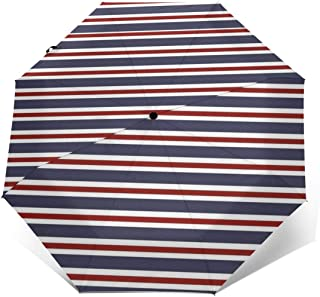 Red and White Stripes Pattern Automatic Umbrella Long Lasting Wind-Proof&Water-Proof Travel Umbrella Ultra Strong&UV Rays Protect Tri-fold Sun Umbrellas for Women Men Outdoor