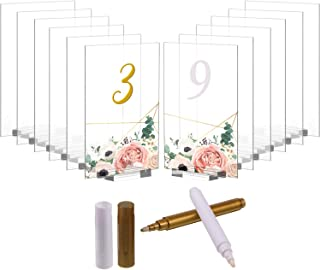 12 Pack Clear Blank Acrylic Sign Acrylic Board with Sign Holders, 5 x 7 Inch Clear Top Menu and Card Table Number Signs Display Stand, Wedding Gift Event Party Signs with White and Gold Marking Pen