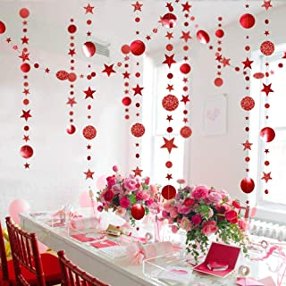 Shimmer Red Circle Dots and Star Garlands for Christmas Tree Decorations/Chinese New Year Hanging Bunting Metallic Banner ...