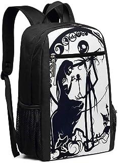 Mochila de viaje para ordenador portátil, pesadilla antes de Navidad, Jack y Sally College School Bookbag bolsa de ordenador casual mochila para mujeres y hombres