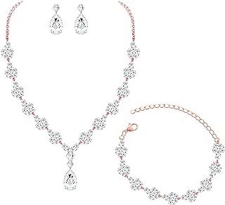 YSOUL CZ Zirconia Necklace Earrings Bracelet Jewelry Set for Prom Wedding Bridal Bridesmaid