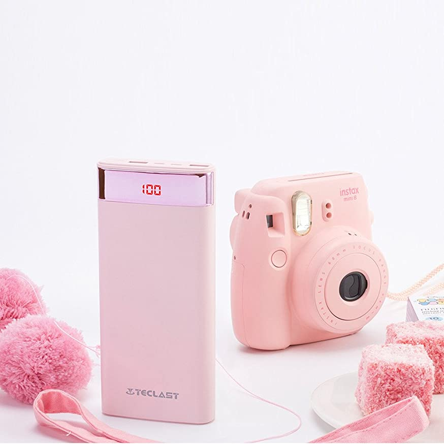 Input Mobile Power Teclast 20000mAh Mobile Power for iPhone Android External Battery with LED Light Pink