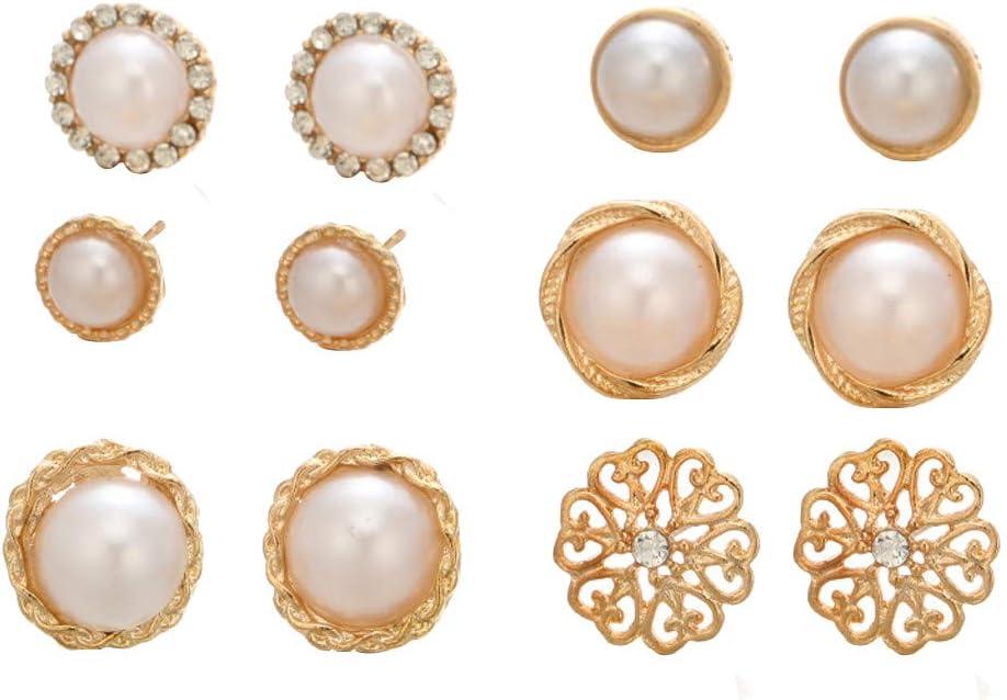 Peigen Women Earrings Stud,6 Pairs of Round Pearl Fashion Earrings Diamond Flower Ladies Earrings Jewelry