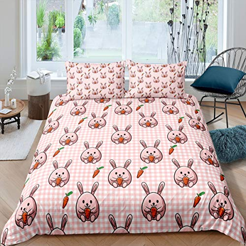 Tbrand Girls Cute Rabbit Comforter Cover Girly Cartoon Bunny Pattern Bedding Set for Kids Children Pink Grid Plaid Duvet Cover Lovely Animal Design Room Decor Super King Quilt Cover 3Pcs