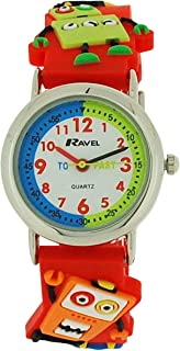 Ravel Funtime Boys 3D Robots Design Time Teacher Strap Watch R1513.61