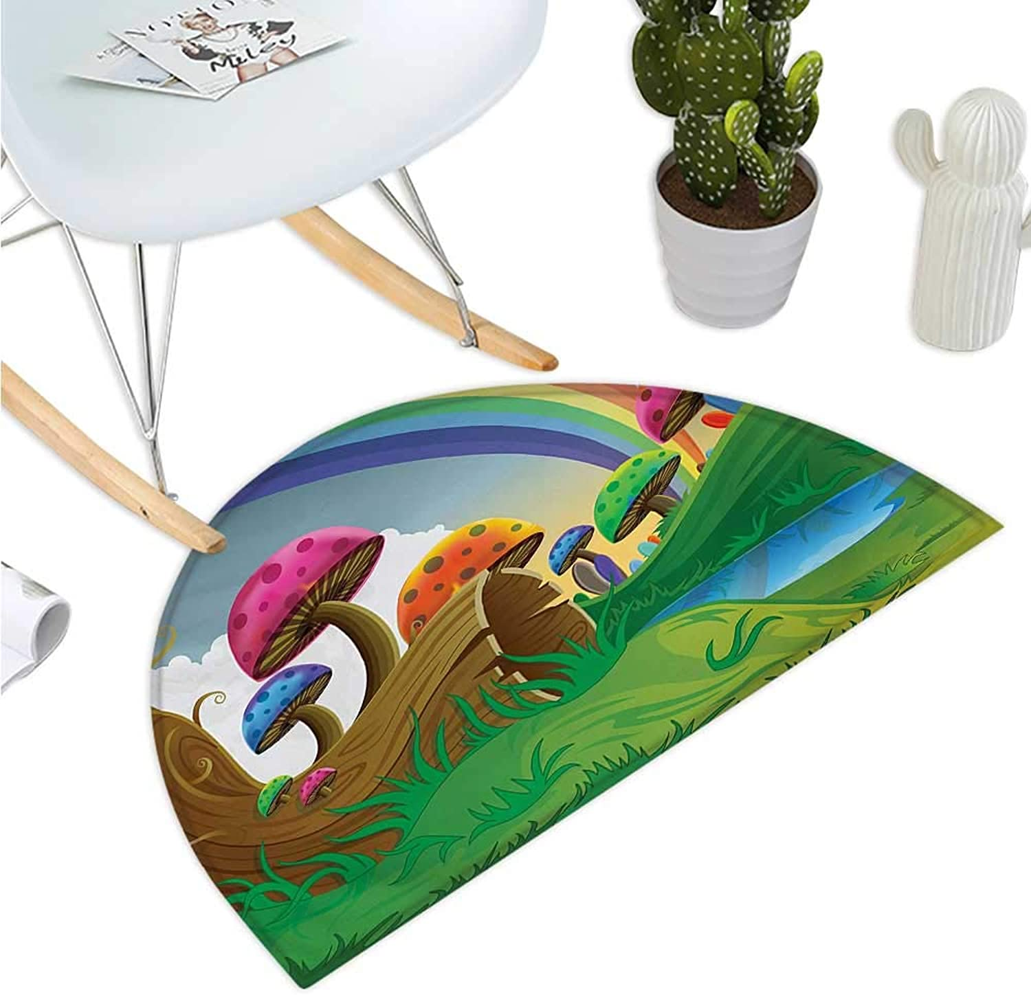 Mushroom Semicircular Cushion Countryside Sunny Playful Environment Foliage Rainbow Spring Scenery Kids Room Halfmoon doormats H 35.4  xD 53.1  Multicolor