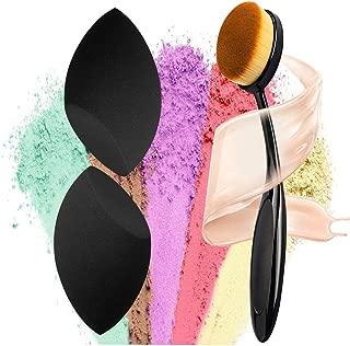 materasu non-latex makeup super soft 2pcs black sponge set blender BB cream,liquid with toothbrush foundation under 5 dollars