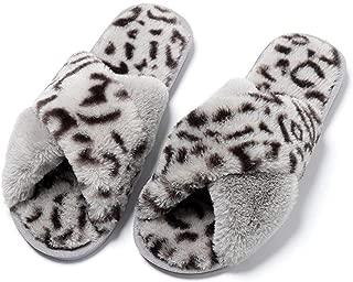 2019 New Womens Slippers, Warm Cross Band Fuzzy Flip Flop Open Toe Soft Plush Fleece, Outdoor Slippers