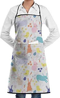 Vicrunning Easter Friends Pattern Alice Potter Aprons Bib for Mens Womens Cobbler Lace Adjustable Adult Kitchen Waiter Aprons with Pockets