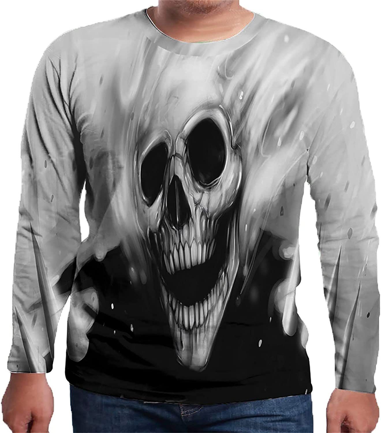 Mens Plus Size T-Shirts 3D Skull Print Shirt Tops Personality Long Sleeve Sweatshirt Graphic Tees for Halloween