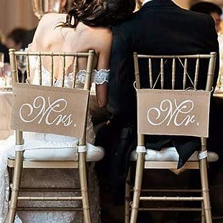 UIYU Hochzeit Mr. & Mrs. Stuhl-Schild, Banner-Set, 2 Stück/Set, Vintage, rustikal, Khaki, Leinen, Stuhl-Schild, Girlande Sitzflagge, Hängeanhänger, Hochzeit, Party-Dekoration