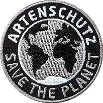 2 x Artenschutz Aufnäher Motiv Save the Planet 6,0 x 6,0 cm