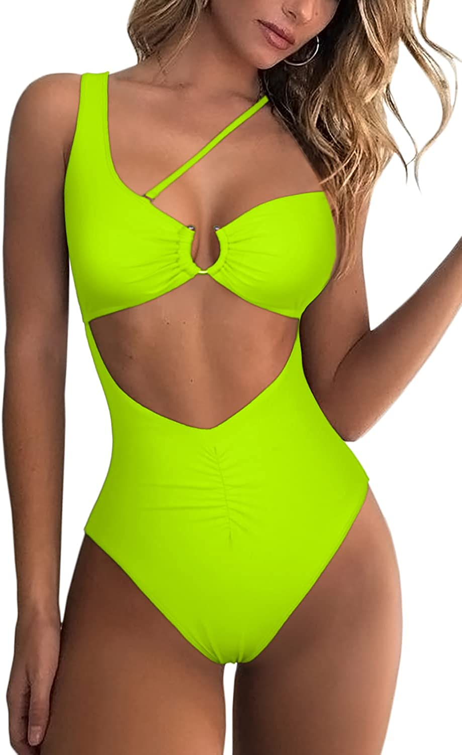 ESONLAR Women's Sexy Swimsuit Front/Back Cutout Ring Detail Ruched One Piece Bathing Suit