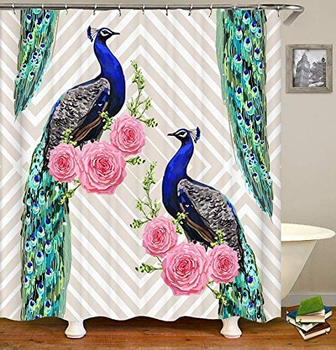OATHENE Peacock Bird Shower Curtain Animals Rose Floral Geometric Feathers Set with 12 Hooks.