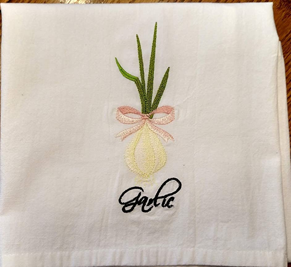 Embroidered herb tea towel or dish towel