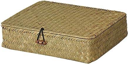 YARNOW Seagrass Storage Basket with Lid Rectangular Woven Shelf Basket Decorative Home Storage Bin Multipurpose Container ...