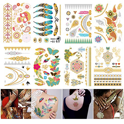 Temporary Metallic Tattoos Henna Body Stickers Fake Party Tattoos for Women Girls Kids Teens, 8 Sheets Mandala Bachelorette Gold Silver Temporary Tattoos Waterproof DIY Sexy Tattoo Sticker (JS001)