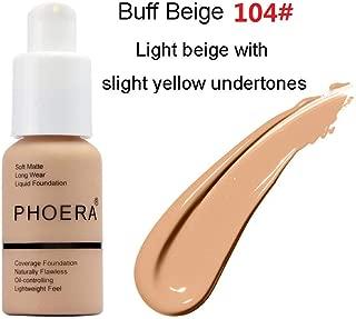 PHOERA Foundation,Matte Oil Control Concealer Foundation Cream,Long Lasting Waterproof Matte Liquid Foundation,104 Buff Beige-30ml