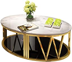 White Marble Coffee Table, Gold-Plated Stainless Steel Frame, Black Tempered Glass, Modern Oval Coffee Table for Living Ro...
