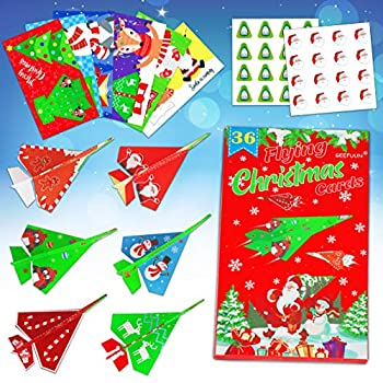 Geefuun Christmas Carfts for Kids - 36 Paper Airplane Cards/36 Envelopes/80 Stickers Xmas Party School Classroom Exchange Gift Favor