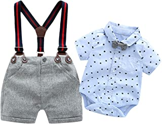 Baby Boys Blue Printed Shirt+Bib Shorts+Bow Tie+ Suspender,Infant Toddler Gentleman Outfits Suits