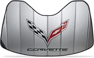 C7 Stingray, Z51, Z06, Grand Sport Corvette Stingray Logo Accordion Style Sunshade - Insulated Silver with Flags