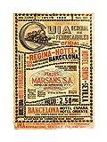 Wee Blue Coo Antique Spanish Rail Timetable Steam Engine Spain Impresión del Arte 12 x 16 Pulgadas