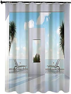 海岸沿いの装飾 アート絵画 シャワー カーテン 180 x 200cm 晴れた空の海の海にテラスバルコニー付きのホリデーヴィラ 浴室 カーテン イル 防水 防カビ加工 洗面所 間仕切り 目隠し用 取付簡単 バス用品 カーテンリング付 白 水色