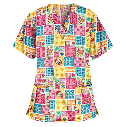 Women's Cute Christmas Scrub_Top V-Neck Workwear Thanksgiving Christmas Working Uniform Holiday Tops Blouse