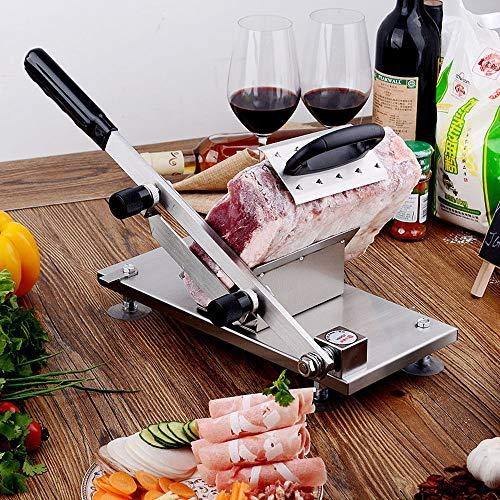 ZCM-JSDTWS Cortafiambres de Manual, Cortafiambres de Acero Inoxidable El Grosor de la Rebanada Puede ser Ajustable para Cortar Embutidos Cortador de Carne de Cordero para Cocina